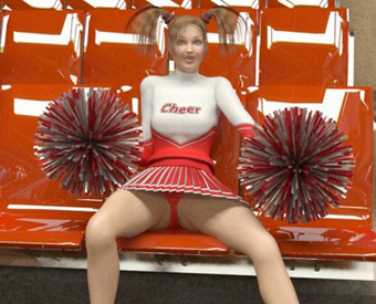 Sexy cheerleader makes it hot